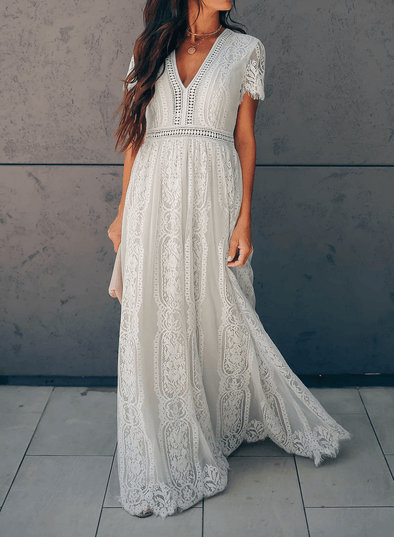 V Neck Short Sleeve Lace Maxi Dress