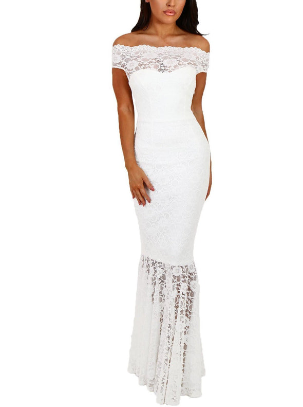 White Bardot Lace Fishtail Maxi Dress