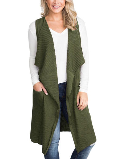 Army Green Pocket Long Cardigan Vest