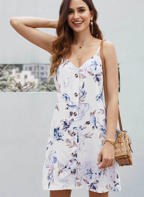 Floral Pattern Buttoned Slip Cami Dress