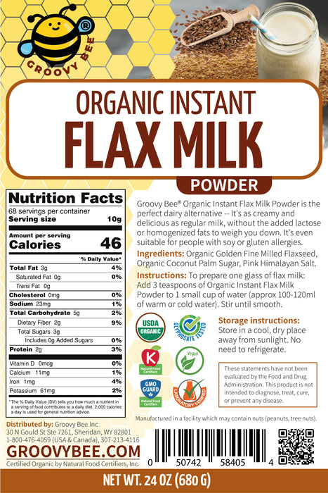 Groovy Bee® Organic Instant Flax Milk Powder 24 oz (680g) (6-Pack)