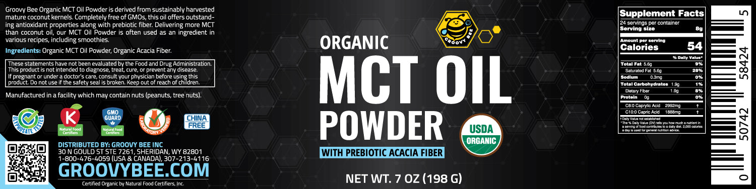 Groovy Bee® Organic MCT Oil Powder - With Prebiotic Acacia Fiber 7oz (198g) (3-Pack)