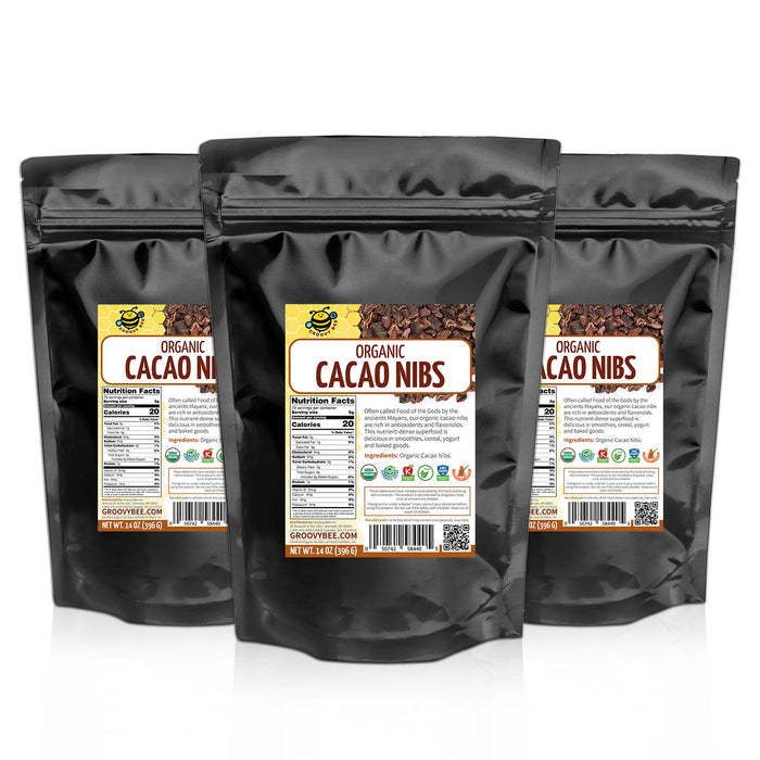 Groovy Bee® Organic Raw Cacao Nibs 14oz (396g) (3-Pack)