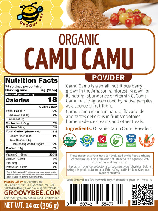 Groovy Bee® Organic Camu Camu Powder 14oz (396g) (6-Pack)