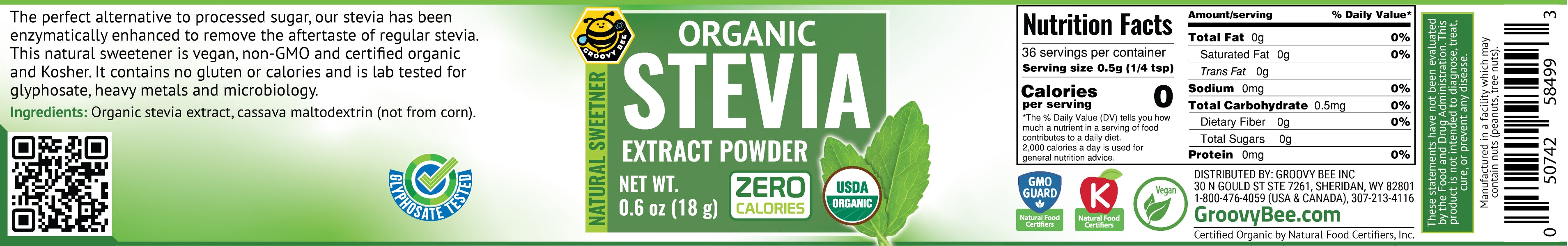 Organic Stevia Extract Powder 0.6oz (18g)