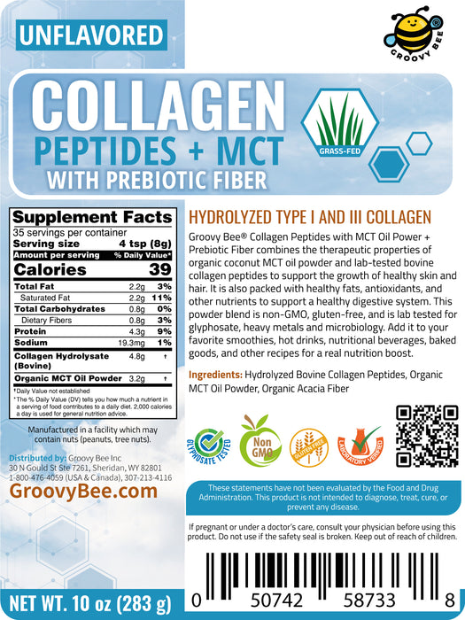 Collagen Peptides + MCT with Prebiotic Fiber - Unflavored 10 oz (283g)