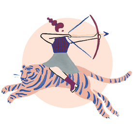 Illustration of a woman warrior riding a tiger with bow and arrow in hand