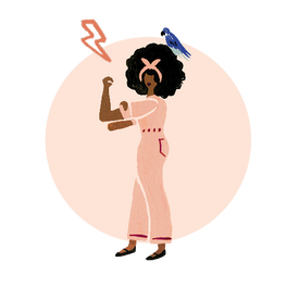 Illustration of a woman wearing overalls, rolling up her sleeves with parrot perched on her head.