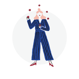 Illustration of a woman in blue pantsuit juggling red balls.