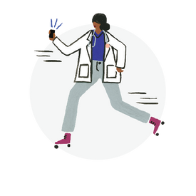 Illustration of a female doctor wearing a white coat, stethoscope around her neck, holding a mobile phone in extended hand while rollerblading.