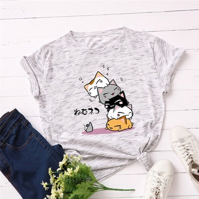 Plus Size S-5XL New Lovely Cat Letter Print T Shirt Women 100% Cotton O Neck Short Sleeve Summer T-Shirt Tops Casual Tshirt - Purrfect Apparel