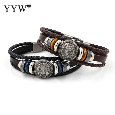 Handmade Leather Woven Charm Rock Bracelet - Purrfect Apparel