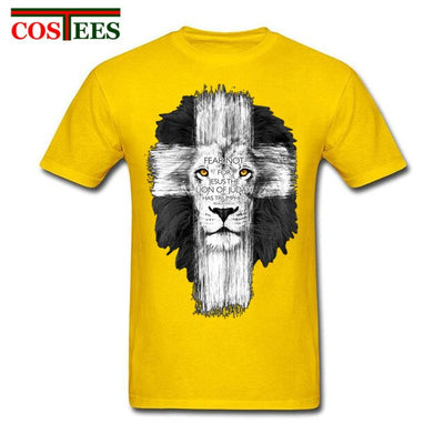 New Mens Jesus Kerusso Brand Christian T-Shirt Mens Lion Cross Fear Not Tops Tee Shirts Casual Harajuku Camisetas Hombre T Shirt - Purrfect Apparel