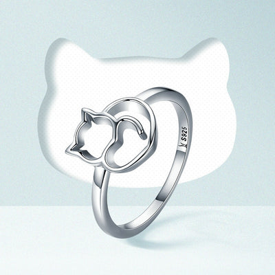 Sterling Silver Cat & Heart Ring - Purrfect Apparel