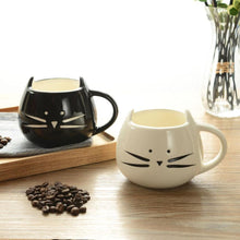 Load image into Gallery viewer, Ceramic Cat Mug White/Black - Purrfect Apparel