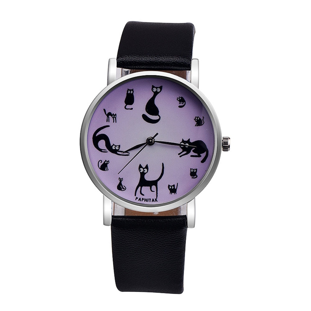 Cute Cat Faux Leather Analog Quartz Watch - Purrfect Apparel