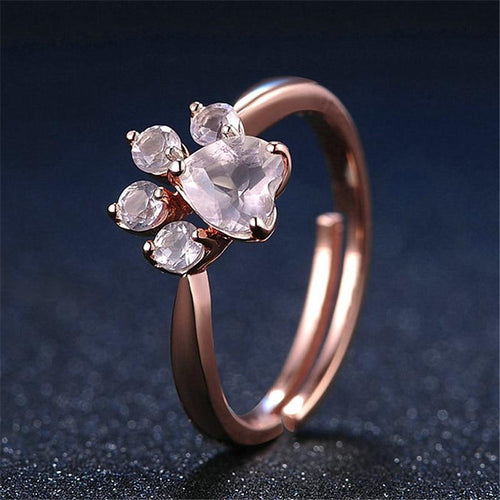 Rose Gold Cat Paw Resizable Ring - Purrfect Apparel