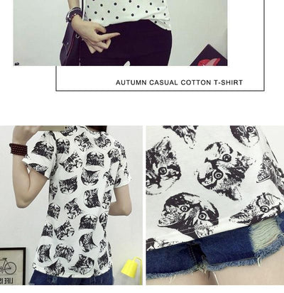 Black & White Cat Print T-Shirt - Purrfect Apparel