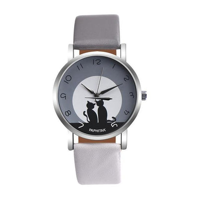 Leather Strap 'Black Cats' Watch By Montre Femme - Purrfect Apparel