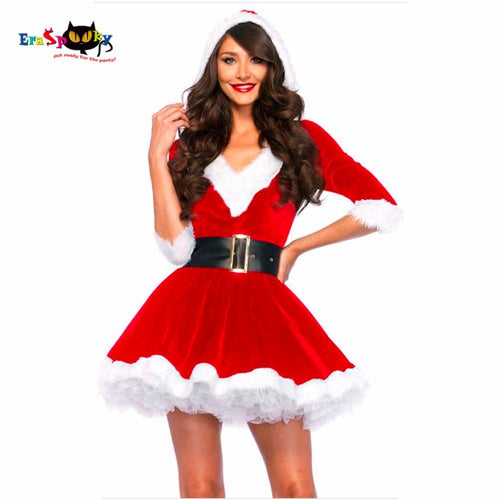 Miss Claus Hooded Fancy Dress - Purrfect Apparel