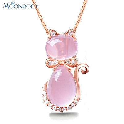 Pink Opal Cat Necklace - Purrfect Apparel