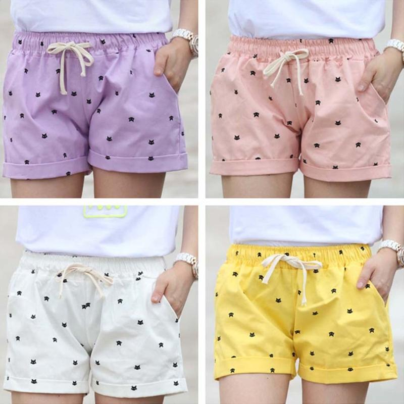 Elasticated Cotton Beach Shorts - Purrfect Apparel