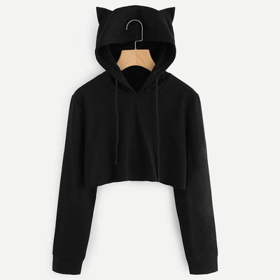 Cat Ears Hooded Crop Top - Purrfect Apparel