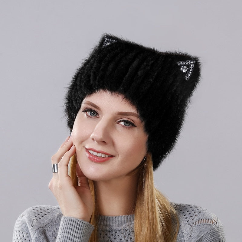 Winter Mink Fur Cat Ear Beanie - Purrfect Apparel