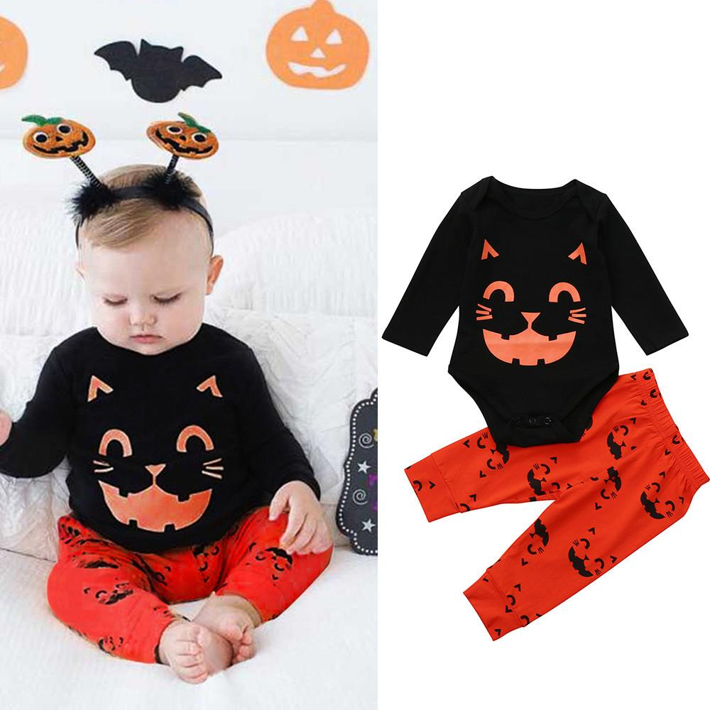 Purrfect Spooktacular! Halloween Baby Cat Print Romper Outfit 2PCS - Purrfect Apparel