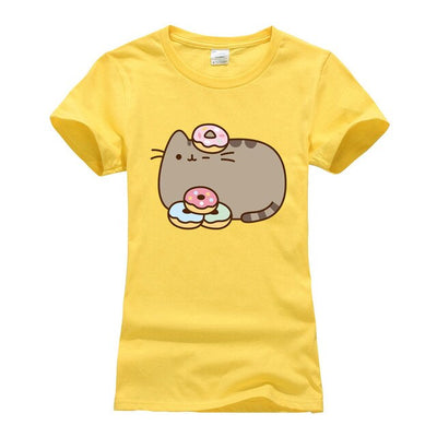 short sleeve o-neck cotton t-shirts 2018 summer women's cartoon cute cat camisetas  streetwear tshirt tee shirt femme size S-XL - Purrfect Apparel