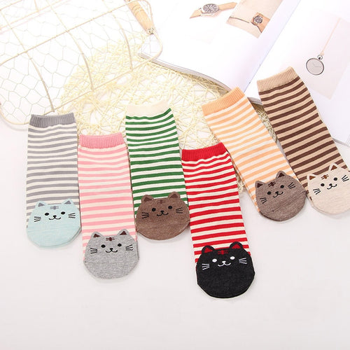 Cartoon Cat Socks - 6 Pairs - Purrfect Apparel