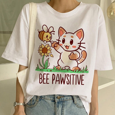 New Cute Cat T Shirt Women Casual Funny Cartoon Print Tshirt Harajuku Kawaii Fashion T-shirt Summer Short Sleeve Top Tees Female - Purrfect Apparel