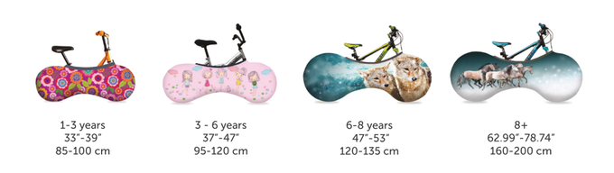 Velosock children bicycle cover sizes