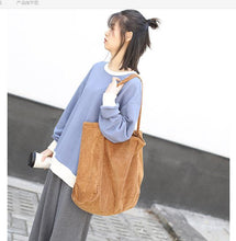 Load image into Gallery viewer, Large Cord Eco Tote Bag