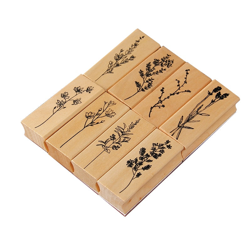 Vintage Leaves Wooden Stamps