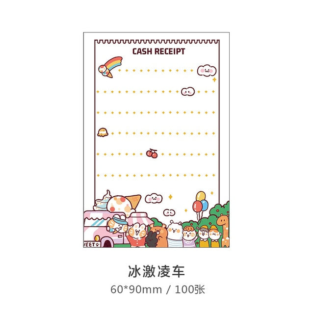 100 sheets kawaii sticky notes