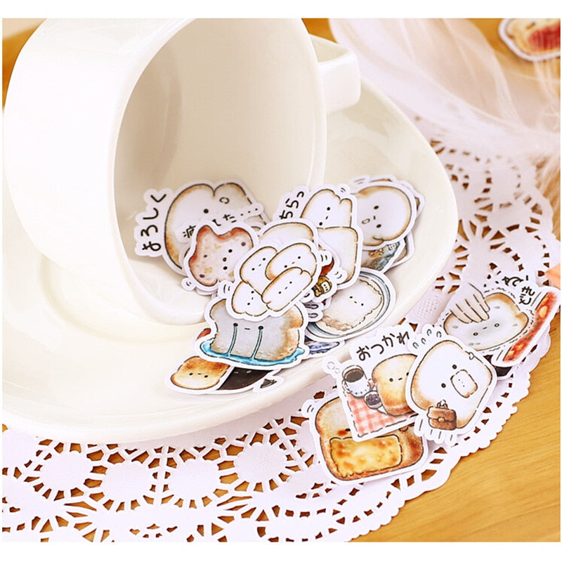 40pcs Cute Bread Stickers