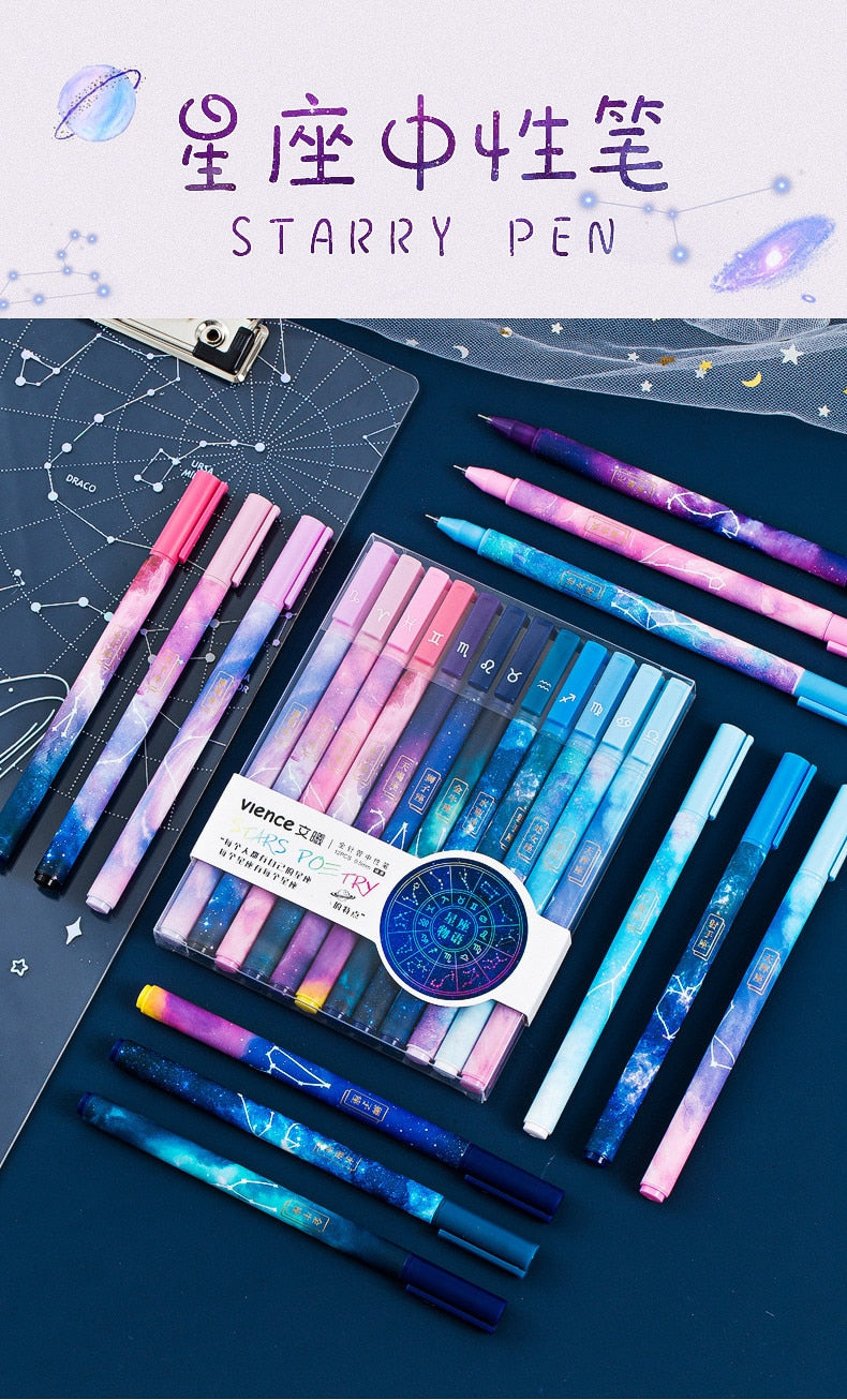 12pcs Constellation/Horoscope Gel Pens 0.5mm