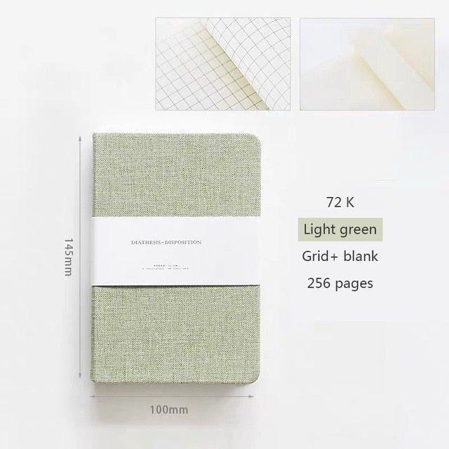 Linen Hardcover Notebook 256 pages - 2 sizes available blank/grid