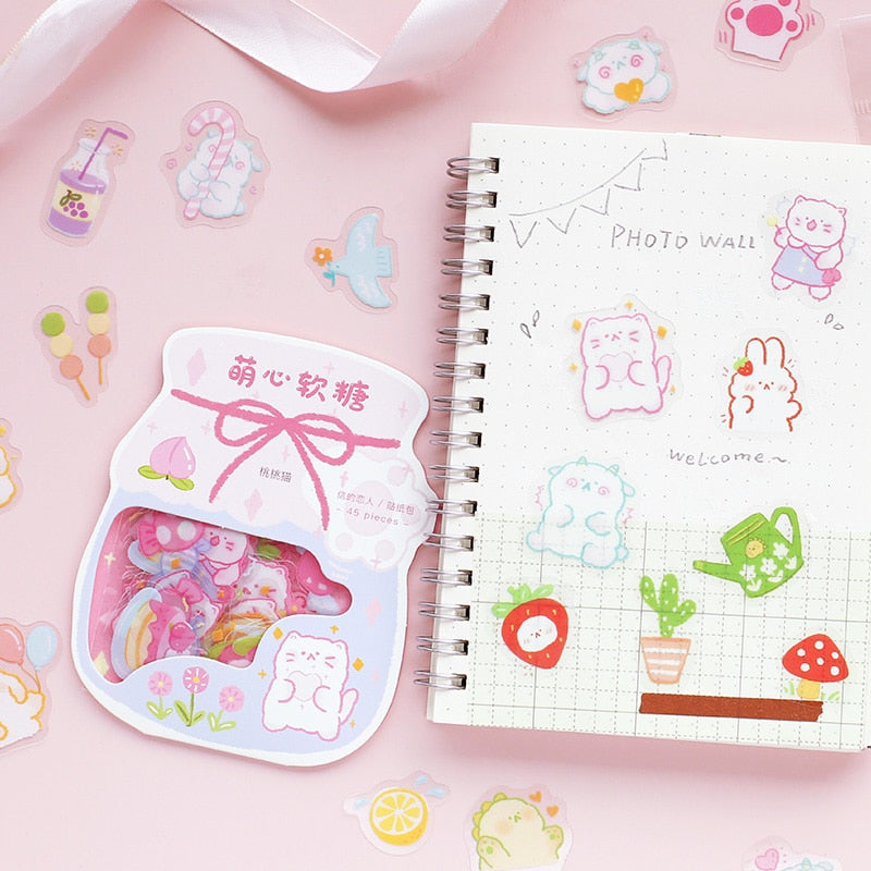 Kawaii Cute Sticker Sets - 45pcs