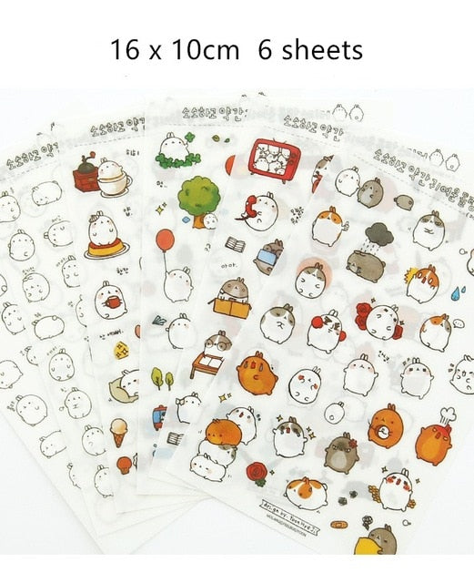 Cute Molang Rabbit Cartoon Animals Stickers
