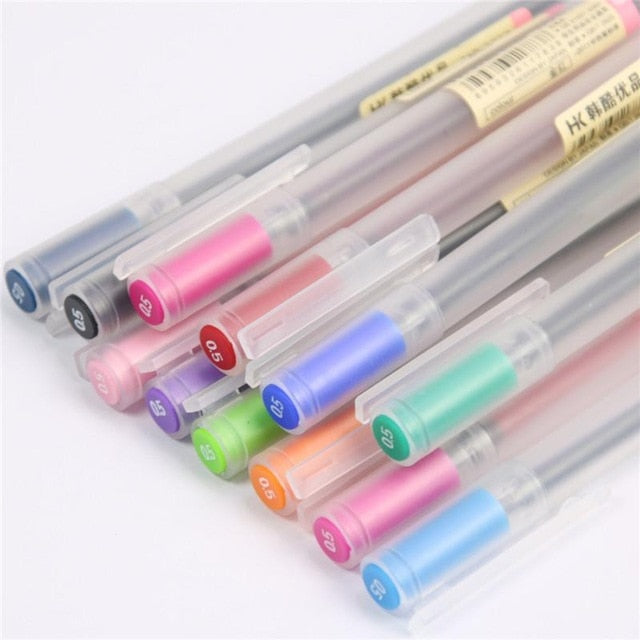 MUJI Style Gel Pens 0.5mm - 12 piece complete set!