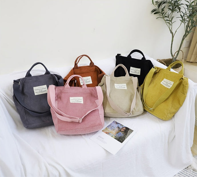 Casual Corduroy Tote Bag - Korean Fashion