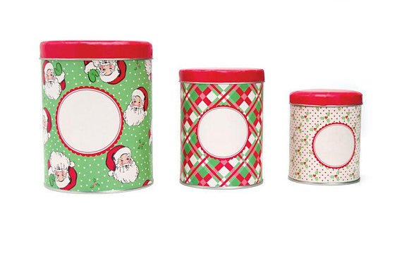 Moda Set of Three Nesting Tins Swell Christmas by Urban Chiks