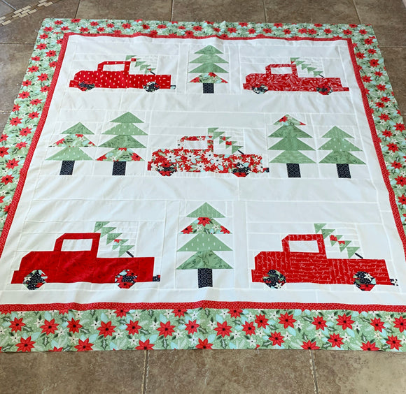 Vintage Christmas Kit - Little Tree Fabric/red trucks (Pattern not included)