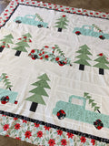 Vintage Christmas Kit - Little Tree Fabric/Aqua trucks (Pattern not included)