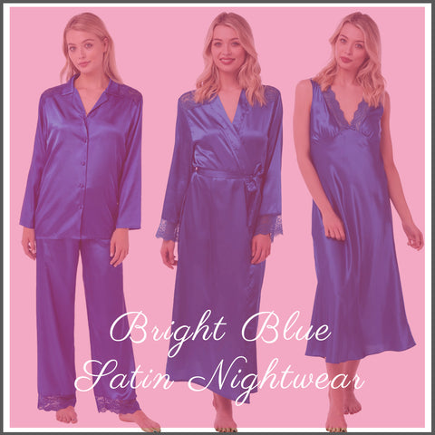 Matching Bright Electric Blue Full Length Nightwear
