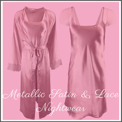 Light Gold Satin and Lace Nightwear Collection