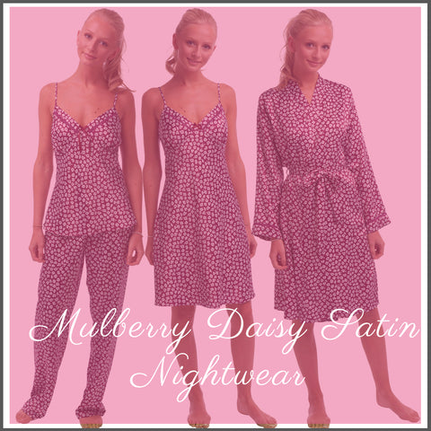 Satin Mulberry Daisy Floral Nightwear