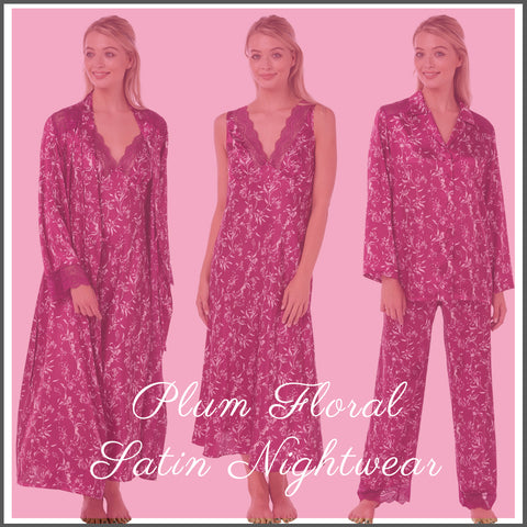 Matching Floral Mulberry Full Length Nightwear